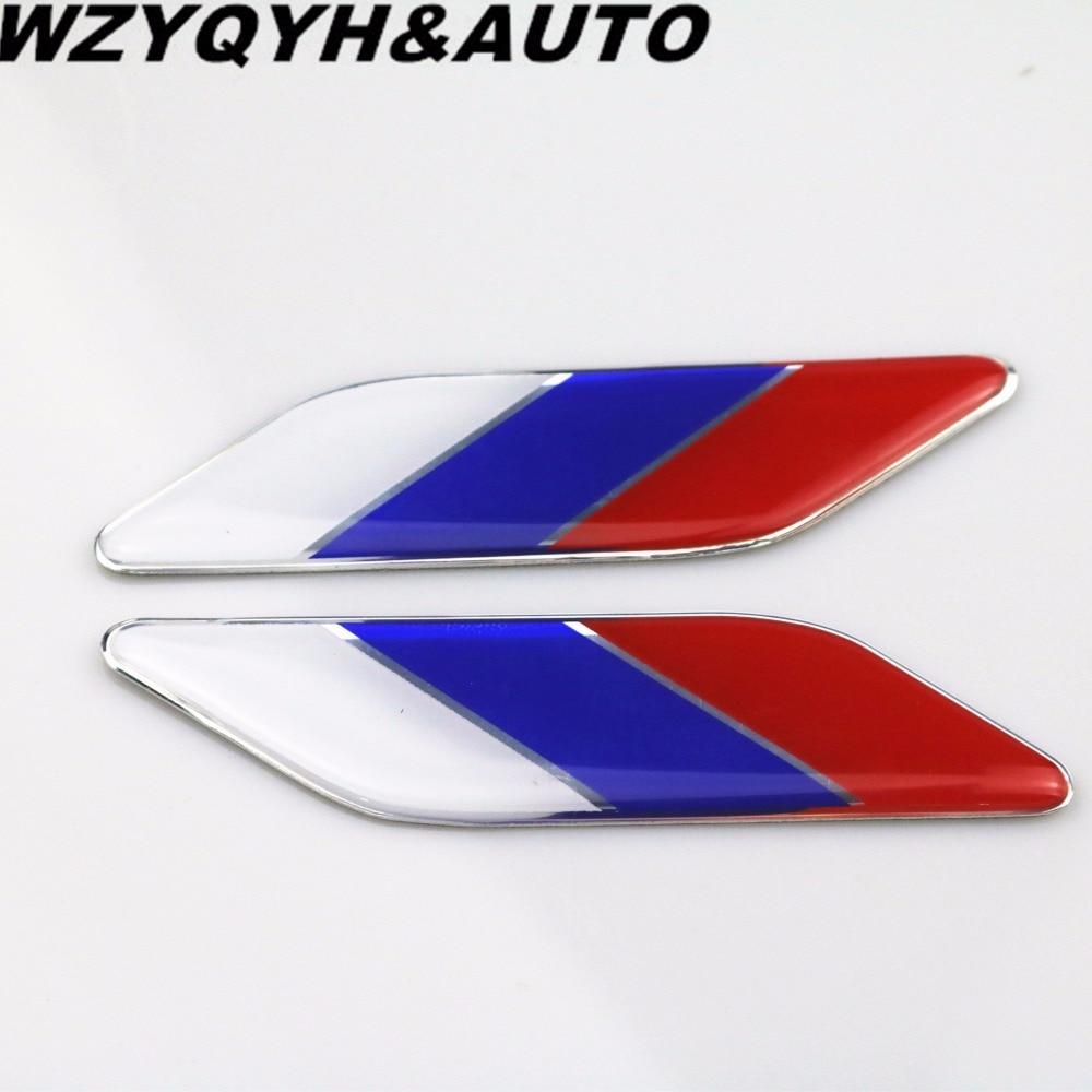 2pcs car styling 3d pvc aluminum alloy car stickers russia for Pvc car