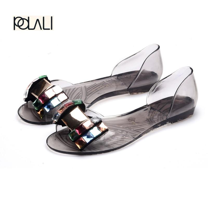 polali Women Sandals Summer Bling Bowtie Fashion Peep Toe Jelly Shoes Sandal Flat Shoes Woman 2 Colors Size 36-40 XWZ722