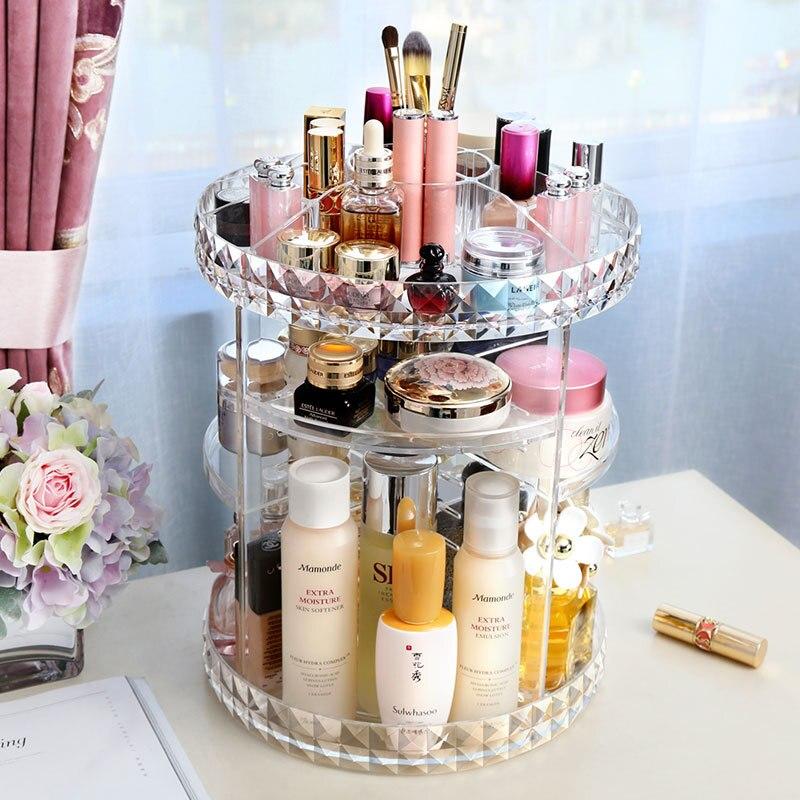 Organisateur de maquillage rotatif Transparent acrylique maquillage boîte de rangement Transparent cosmétique verre bijoux perle stockage brosse titulaire