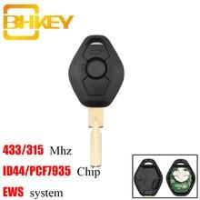BHKEY HU58 블레이드 3 버튼 BMW E38 E39 E46 EWS 시스템 용 BMW 315/433Mhz 용 원격 차량 키 ID44/PCF7935 칩 언컷 블레이드