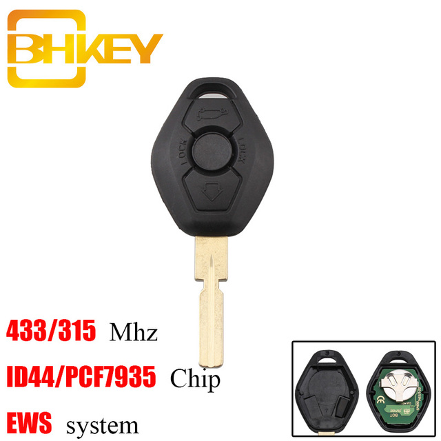 BHKEY HU58 Blade 3Buttons Remote Car key For BMW 315/433Mhz For BMW E38 E39 E46 EWS System ID44/PCF7935 Chip Uncut Blade