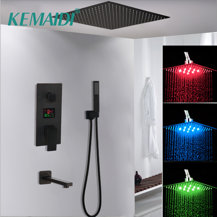 KEMAIDI  Black Brass Shower Head Digital Display Mixer Taps Bathroom Shower Faucet 3-Functions Digital Shower Faucets Set