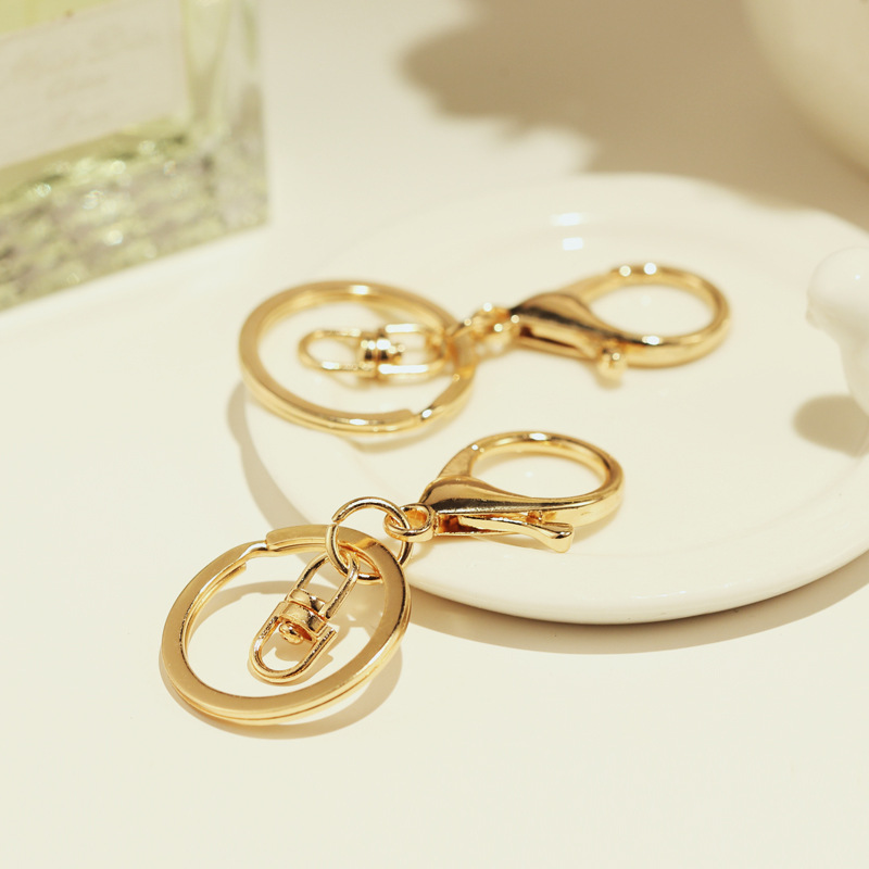 10 Pcs Key Chains & Key Rings Round Gold Color Lobster Clasp Keychain DIY Keychain Accessories Wholesale 6.9cm X 3cm