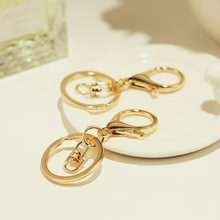 10 Pcs Key Chains & Key Rings Round Gold Color Lobster C