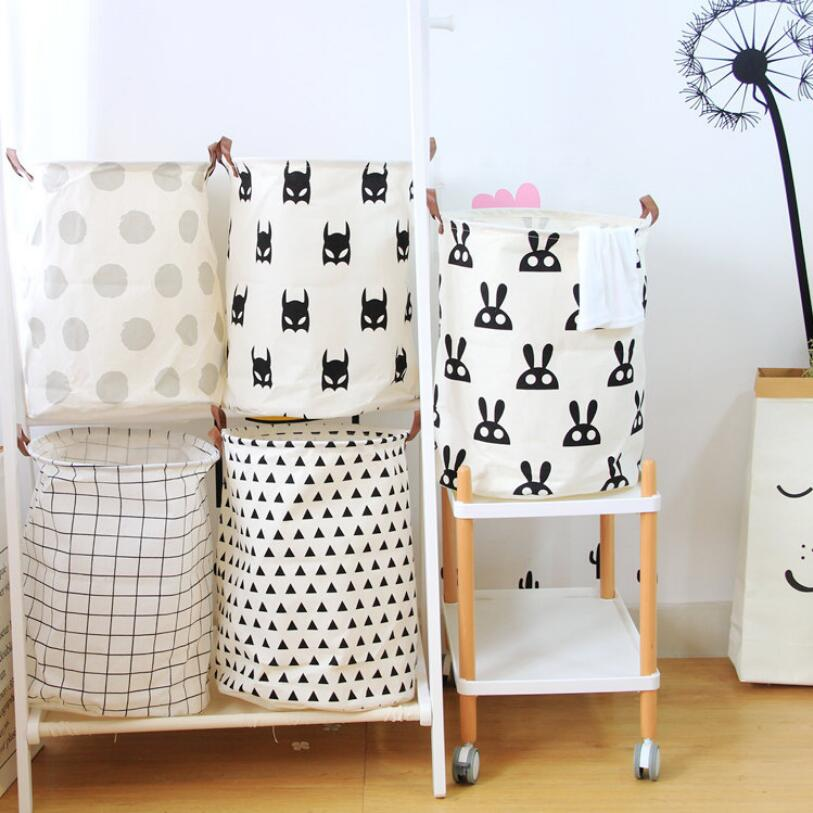 The New Cartoon Waterproof Laundry Hamper stripe Clothes Storage Basket Home decoration storage barrel kids toy