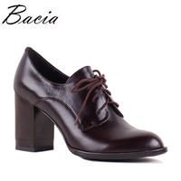 Bacia 2017 Autumn New Women Pumps High HeelS Office Shoe Cow Leather Female Shoes Ladies Genuine
