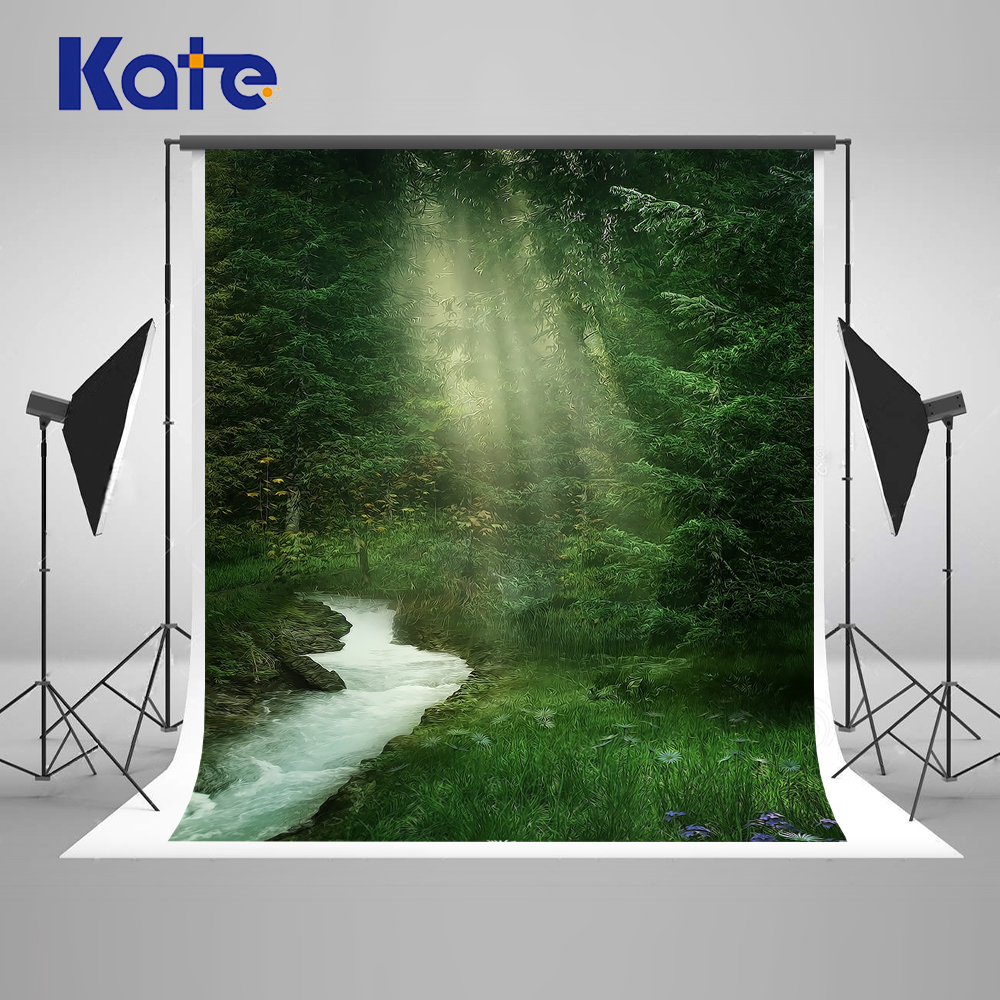 Kate Green Photo Background Photography Backdrop Forest Creek Sunshine Green Photo Backdrop Digital Forest scenery background kate digital photography backdrop