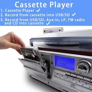 Image 4 - LoopTone 3 Geschwindigkeit Bluetooth Plattenspieler Vinyl LP Plattenspieler Vintage Gramophone Phono CD & Kassette Player FM/AM Radio USB Recorder