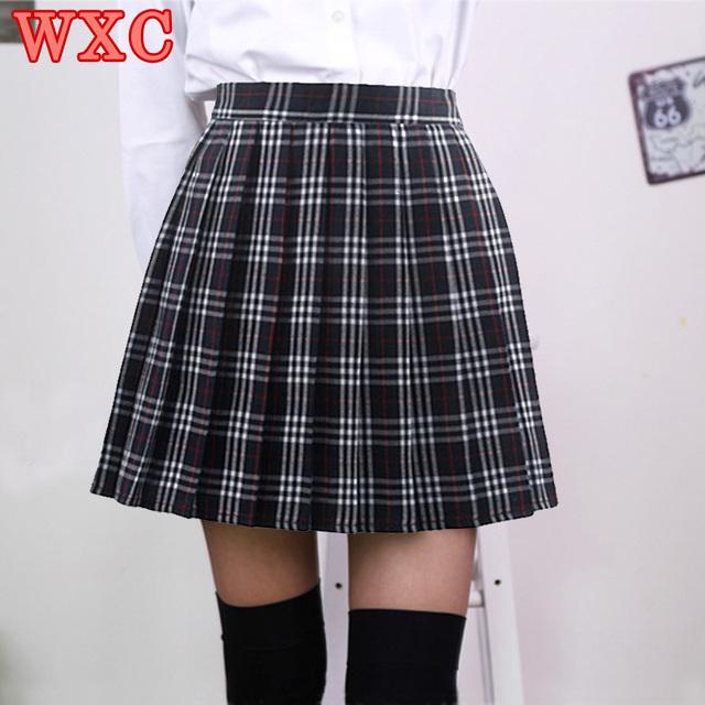 Estilo Campus japonés A Cuadros de Talle Alto Faldas Plisadas Jk Estudiante Colegialas Uniforme Falda Lindo Cosplay Mujeres Saias Falda WXC