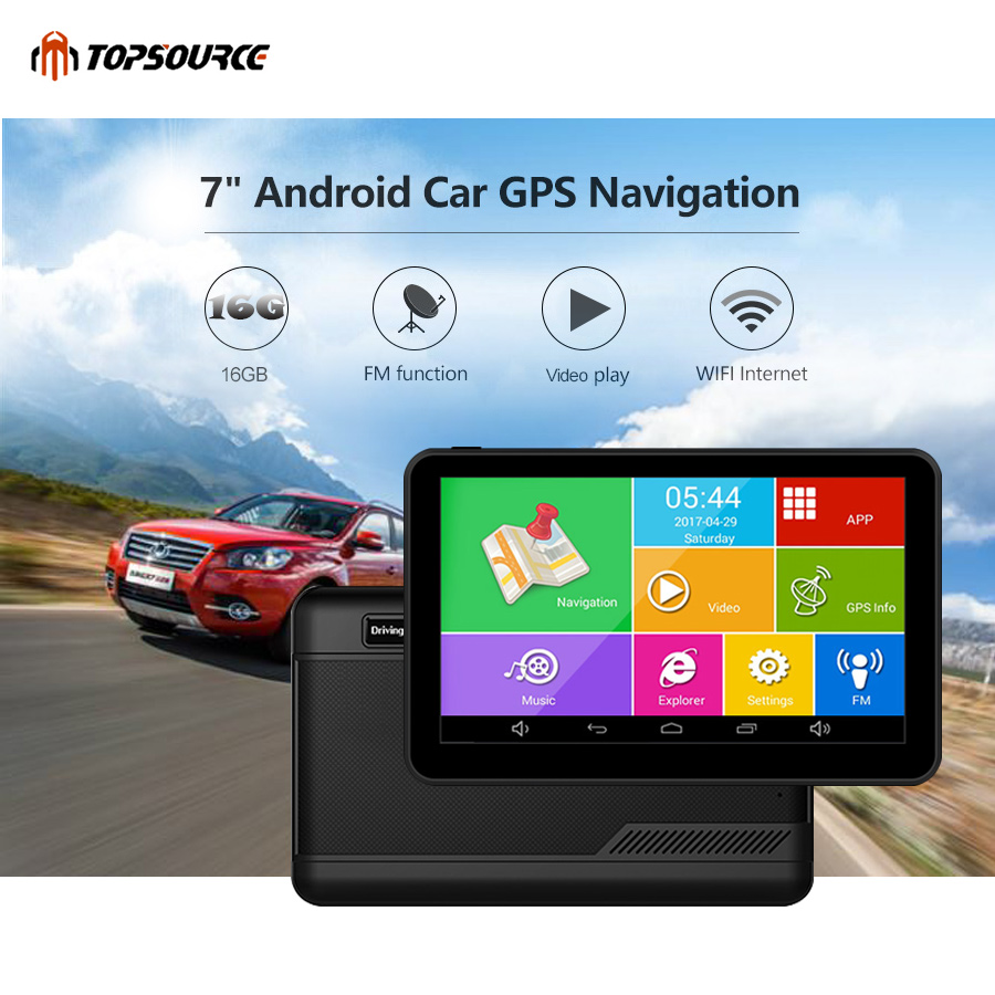 TOPSOURCE GPS Navigation 7″ Android 16GB Car GPS WIFI video HD 1080p 1024*600 navigator Russia Touch Screen With FM