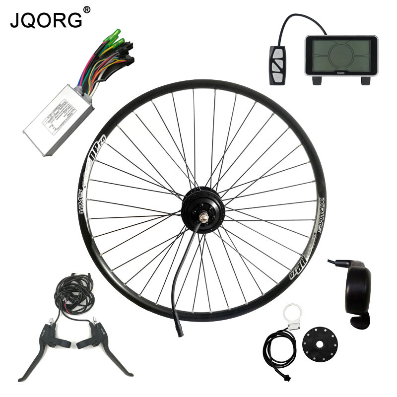 JQORG Front Wheel Driving Electric Bike Kits 36V 250W BLDC Hub Motor Drive E-bike Conversion Kits With LCD Middle Control System 24v 500w electric mountain bike powerful brushless gearless hub motor 26 rear wheel electric bike conversion kit with lcd meter
