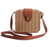 Women Shoulder Bags Casual Straw Candy Color Square Beach Bag Small Single-Shoulder Bags Fashion Designer Handbag Bolsasd SS0289