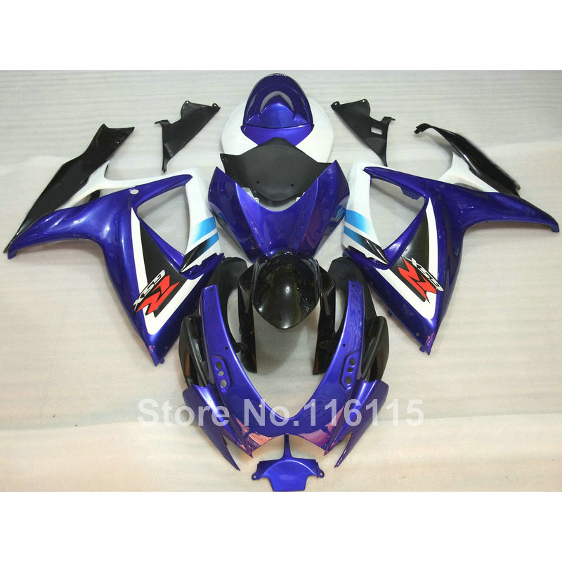 fairing kit fit for SUZUKI Injection mold GSXR 600 750 K6 K7 2006 2007 blue white black fairings set GSXR600 GSXR750 06 07 Q58 motorcycle rear seat pillion passenger cover tail section solo fairing cowl for suzuki gsxr600 gsxr750 gsxr 600 750 2006 2007