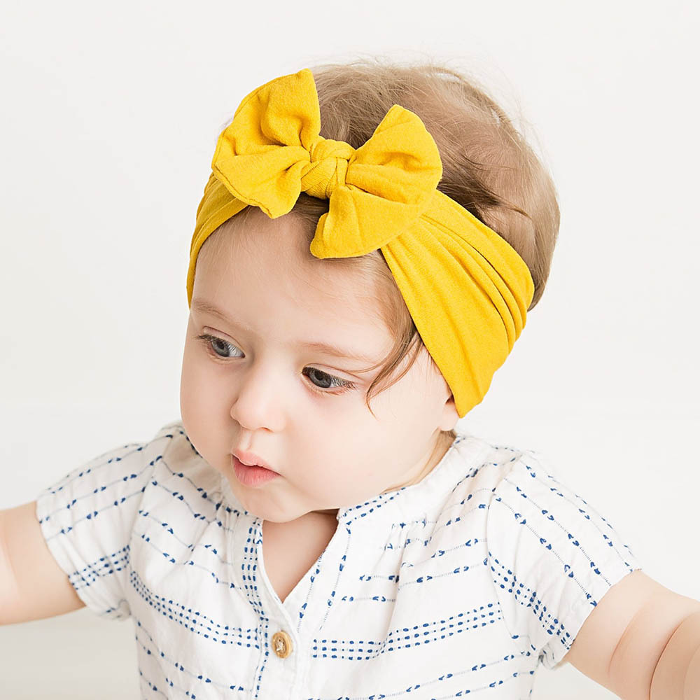 21 Colors Baby Bow Nylon Headband For Girls Spring 2019 Kids Soft Elastic Round Head Wrap Newborn Bow Hairband Hair Accessories
