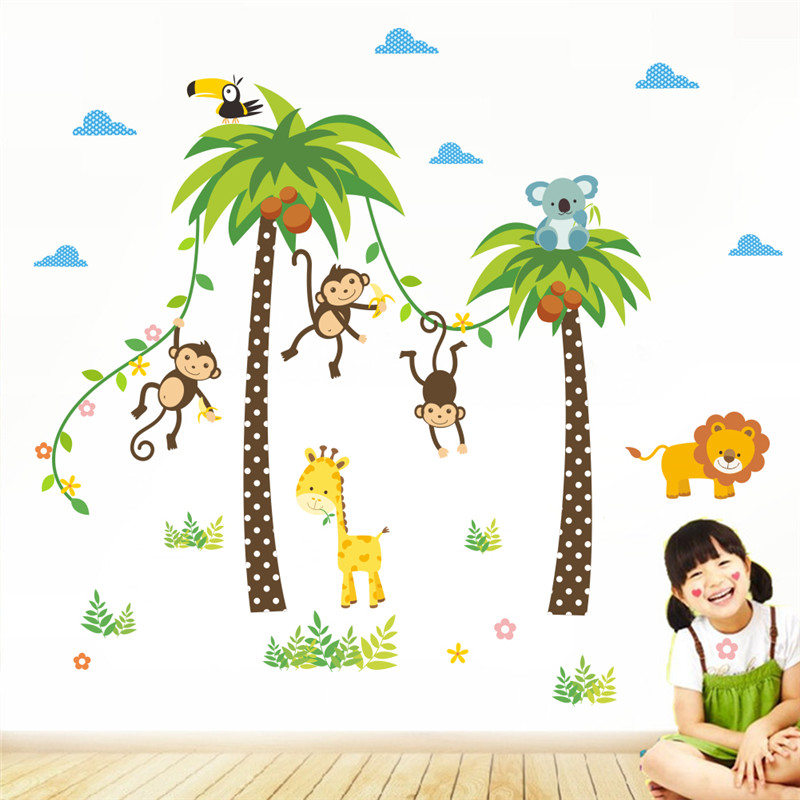 HTB1VBjNQFXXXXXNXFXXq6xXFXXXI - Forest Animals Giraffe Lion Monkey Palm Tree wall stickers for kids room-Free Shipping
