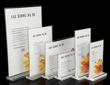 Table sign clear acrylic display card A4/A5 table T type advertising poster price list of drinks menu holder rack free shipping onlvan led restaurant menu covers a4 size bar list holder covenience to use accept customized order cafe menu list folder
