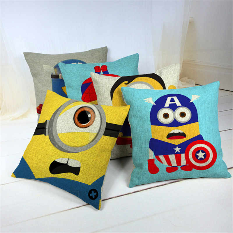 RECOLOUR Cute cartoon Funny Yellow Minions Pillow Case  Cushion Cover Home Decorative Throw pillows  christmas pillow cover