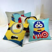 RECOLOUR Cute cartoon Funny Yellow Minions Pillow Case  Cushion Cover Home Decorative Throw pillows christmas pillow cover