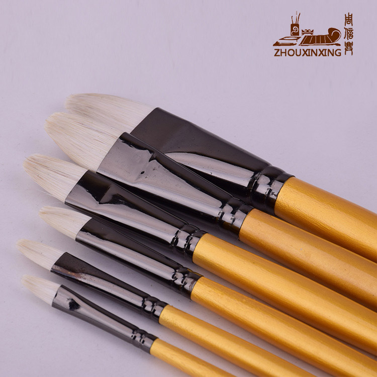 Zhouxinxing White Horse Hair Gold Long Wood Rod Painting Brush 6 Pcs Set Of Water Chalk Set Brush Art Supplies Drawing Materials