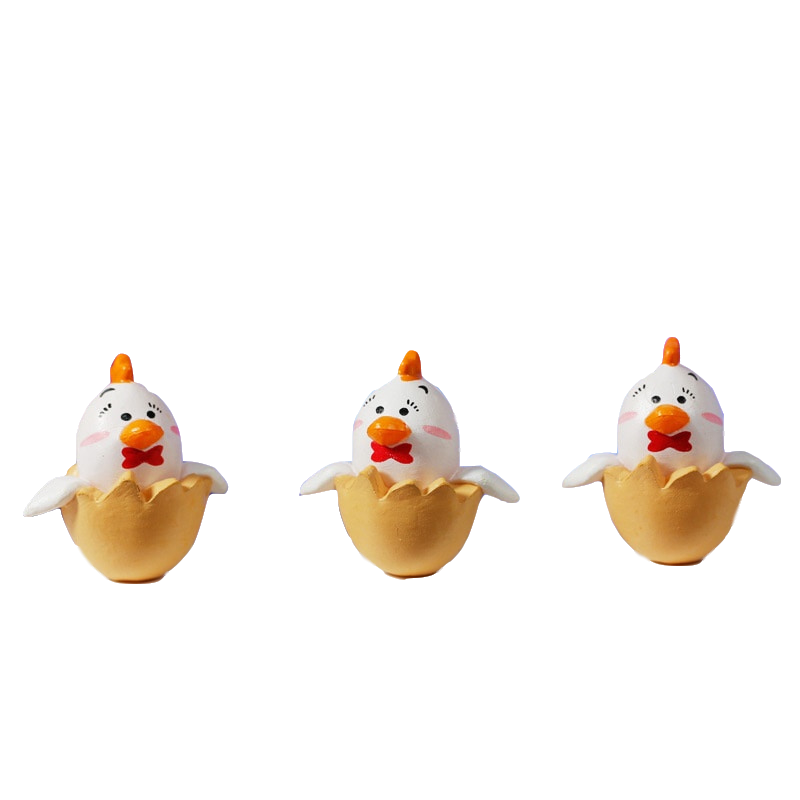Lovely chicken Action & Toy <font><b>Figures</b></font> 2cm*2cm Chickens Breaking Out of Shells DIY doll scene image