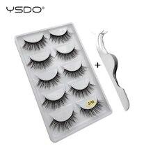 YSDO 5 pairs false eyelashes natural long 3d mink fake eyelash +1 pcs eye makeup tool lashes tweezers thick fluffy kit