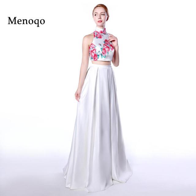 Menoqo evening dress 2 piece Flower Pattern Floral Print Satin ...