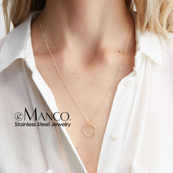e-Manco Fashion Gold Color Stainless Steel Necklaces Women Minimalist Round Pendant Necklace for women Brand Necklace Jewelry