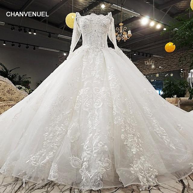 LS00371-1 luxury sexy lace up 3D flowers long tail three quarter white wedding dress vestido de noiva com renda 2017 abiye