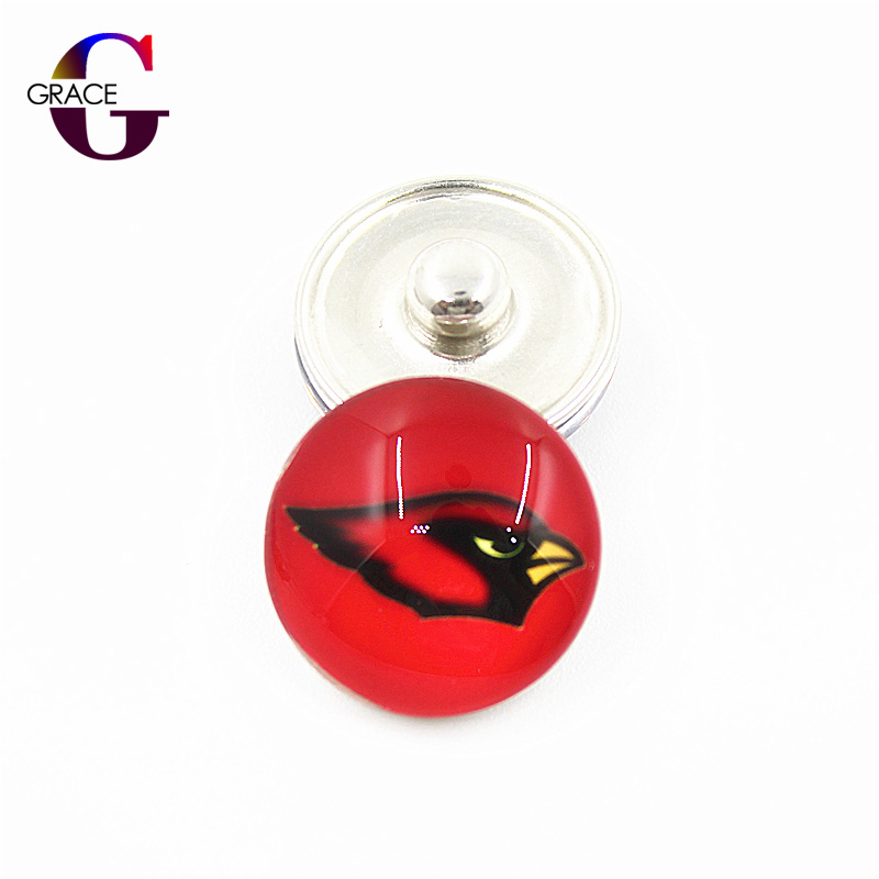 Arizona Cardinals Football Team Sports Charms 18mm Replaceable Ginger Glass Snap Buttons Fit DIY Snap Jewelry Bracelets&Bangles