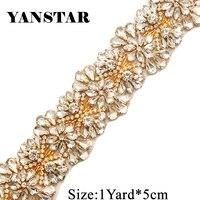 Rhinestones Applique Trim By The 5.3CM*5Yards Wholesale Bridal Trim Crystal Trim Rhinestone Applique Wedding Dresses Belt YS820