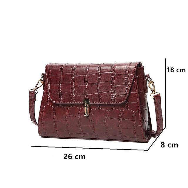 New Arrival Vintage Alligator PU Leather Women Bag Fashion Lock Women Shoulder Bag Plaid Women Messenger Bag