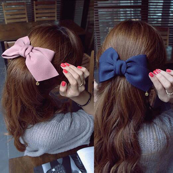 2016 New Arrival Big Solid Cloth Bows Hair Clips Hairpins Hair Accessories for Women Girl Wedding Hair Jewelry Free shipping