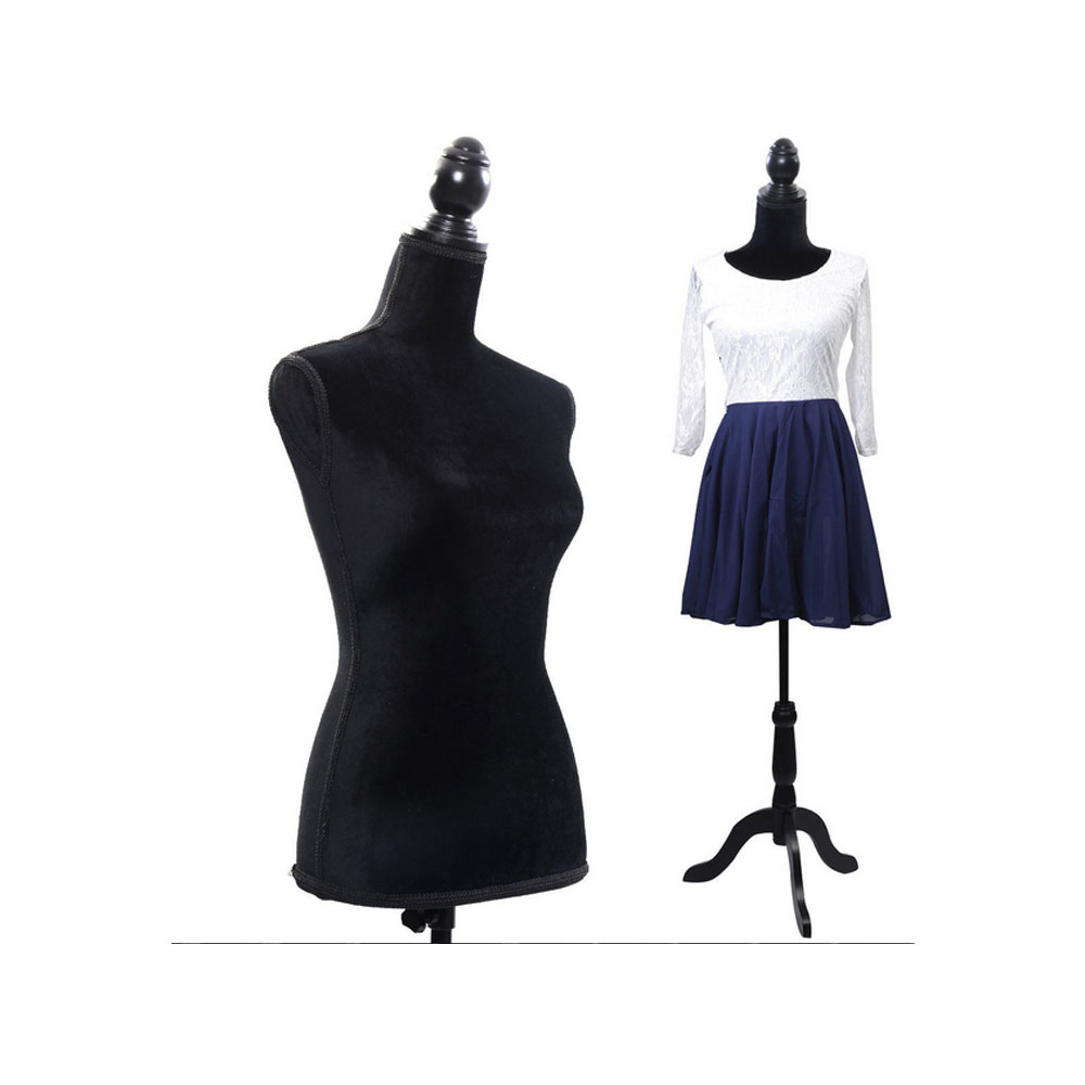 Robe en mousse noire forme Mannequin corps femme buste Mannequin modèle pour l'affichage des vêtements SKU58647844