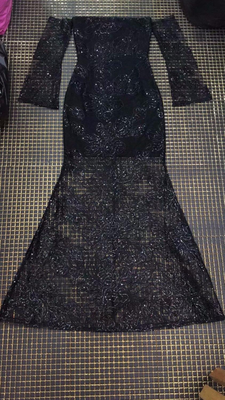 Slash Outre Robe Nouveau Manches Femmes Maille 2018 De Longues Gros Noir En Paillettes Cou Bandage Partie L'épaule Sexy IwxxYz