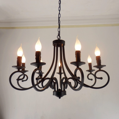 Free Shipping Wrought Iron Chandelier Candles Classical 8 Pieces E14 Bulb Chandeliers Light Fixture America Country Brief Style In From Lights