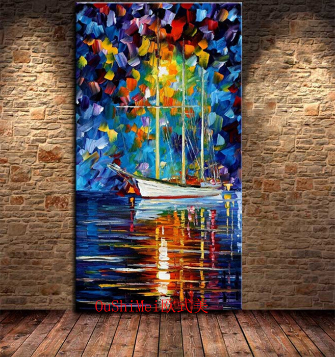 Free Shipping Hand Painted Palette Knife Oil Painting on Canvas in the Subject of Street at Night for Home Decor Christmas Gifts