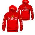 Pinkqueen Couple Clothes King Queen Hooded Sweatshirt Winter 2016 Long Sleeve Letters Printed men/women Pocket  Pullover Hoodies