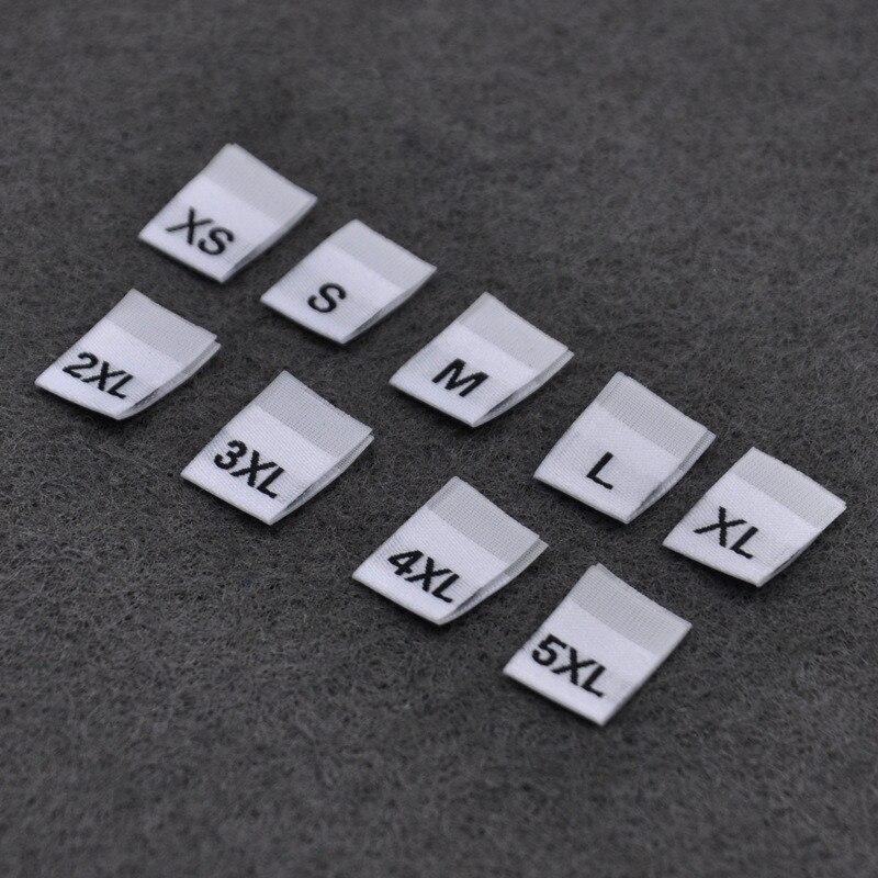 DoreenBeads 100 шт Белый Черный S-4XL размер полиэстер ткань одежда этикетки и бирки для одежды сумки обувь аксессуары 3,5*1,2 см