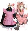 Хеллоуин Костюм Женщины Япония Девушки Розовый цвет Горничной Лолита Сакура Card Captor Косплей Костюмы