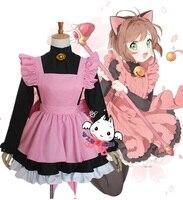 Halloween Kostuum Vrouwen Japan Meisjes Roze kleur Maid Lolita Sakura Card Captor Cosplay Kostuums