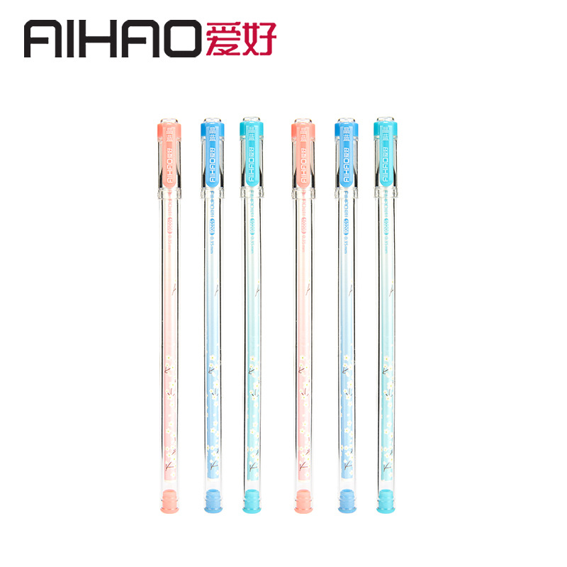 2019 New Arrival AIHAO Brand 0.35MM Cap Gel Ink Pen Flower School&Office Supply Smooth Writing Pen 4pcs/lot Free Shipping
