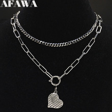 2019 Fashion Stainless Steel Punk Heart Necklace for Women Silver Color Layered Statement Necklace Jewelry collares N19176 цена
