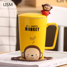 LISM Creative Lovely Cup Ceramic Mug Cartoon Couple Milk Coffee Water with Cover Spoon