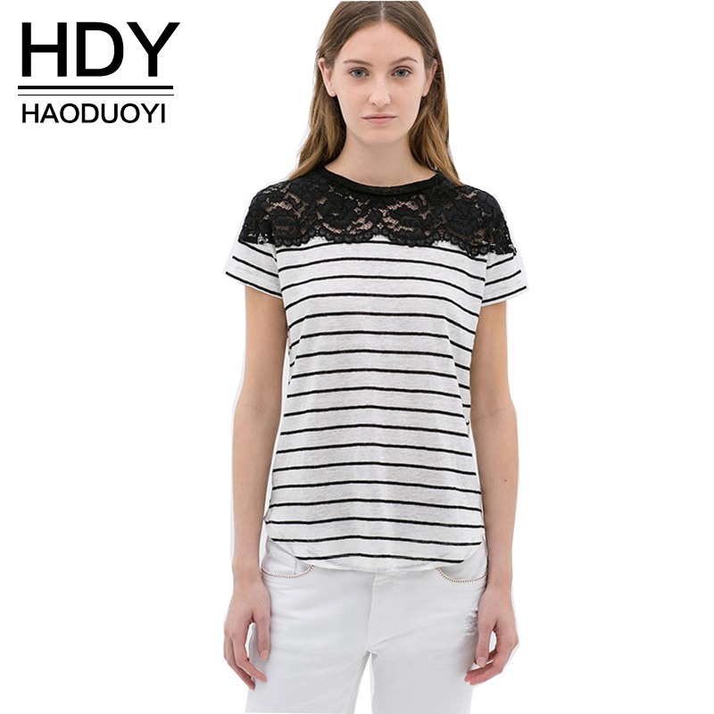 Hdy haoduoyi fashion 3 color women t shirts short sleeve for Women s crew t shirts