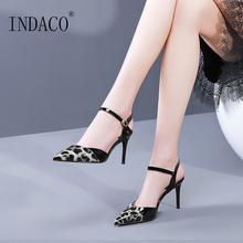 Heels Women Shoes Leopard Ankle Strap Pumps High Heel 8.5cm Leather