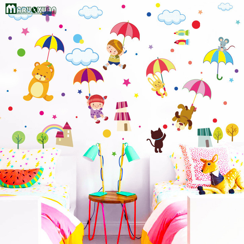 YunXi Cartoon Animal Umbrella Wall Stickers For Living Room Bedroom TV Background Decorative Kids Wallpaper In From Home Garden On