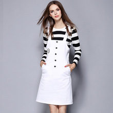 2016 Autumn High Quality Women Striped T-shirt+White A Line Dress Women's Clothing Set 1691