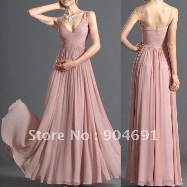 New Pink Blush Bridal Evening Dress V-neck Party Dress Bridesmaid Prom Dress A-line Chiffon Formal Gown Sz 2 4 6 8 10 12 +Custom