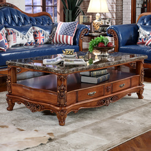 European small apartment living room coffee table marble furniture retro side length of several hundreds French minimalist wood