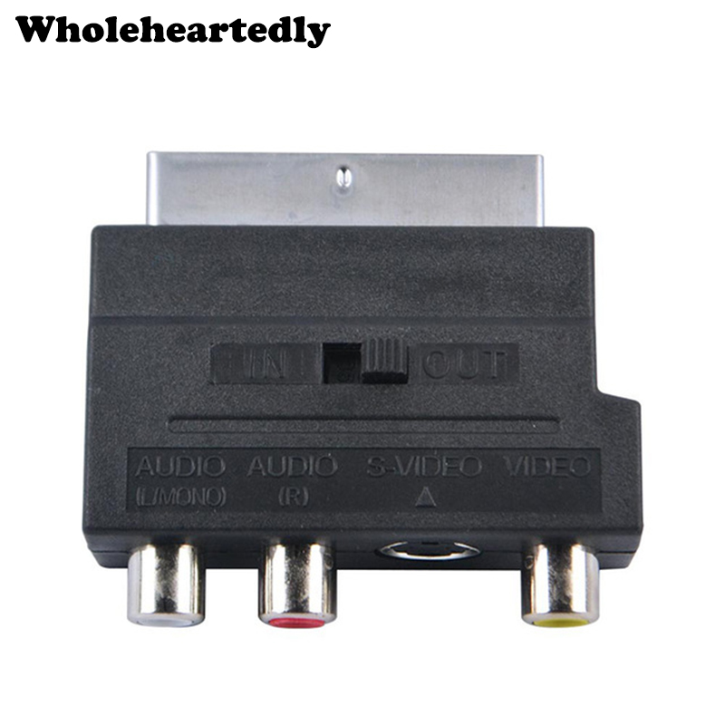 out Scart Adapter Scart male to 3x RCA and S-VHS video in